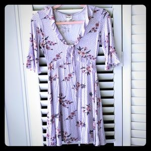 Lavender floral sundress with peekaboo cut out